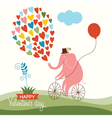 Cute elephant on a bike Valentine card vector image vector image
