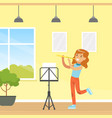 cute girl playing flute kid education and hobby vector image vector image