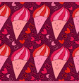 cute ice cream seamless pattern sweet doodle vector image