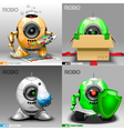 Digital robo set painter delivery vector image vector image