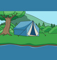 fishing and camping background children book vector image