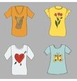 hand drawing women T-shirts with print vector image