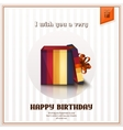 Happy birthday greeting card with open gift box vector image vector image