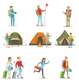 Happy People Traveling And Having Camping Trips vector image