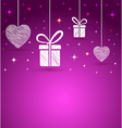 hearts and gift box shape greeting card vector image vector image
