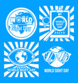 international sight day banner set simple style vector image vector image