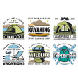 kayaking camping diving and hiking sport vector image