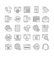 large set business communication icons for vector image