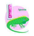 letter i for iguana cartoon alphabet for children vector image