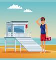 lifeguard looking the beach vector image