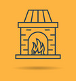linear icon of fireplace with burning fire vector image