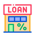 loan percent building icon outline vector image vector image