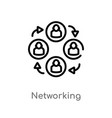 outline networking icon isolated black simple vector image vector image