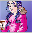 pink and purple boho woman with an owl cub vector image vector image