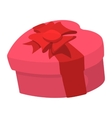 Pink heart shaped gift box with a ribbon icon vector image vector image