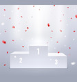 podium and confetti sport pedestal for winners vector image vector image