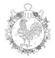 roosterhand drawn doodle zen art vector image vector image