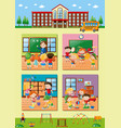 school scenes with teacher and students vector image