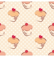 Seamless cupcake pattern on polka dots background vector image vector image