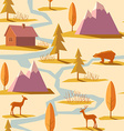 Seamless Winter Mountain Pattern vector image vector image