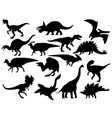 set dinosaur silhouettes collection extinct vector image