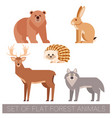 set flat forest animals vector image