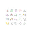 set flat line icons cancer vector image