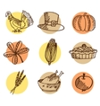 set thanksgiving hand drawn icons isolated vector image