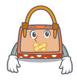 silent hand bag mascot cartoon vector image vector image