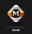 silver letter m logo symbol in the square shape vector image