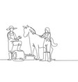 single one line drawing male farmer stomped vector image vector image