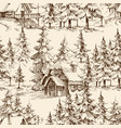 wooden lodge in pine forest idyllic vector image