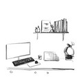 workspace office desk computer chair potted plant vector image vector image