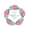 wreath pink lotus delicate romantic style for vector image vector image