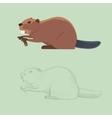 Funny cartoon beaver cartoon style vector image