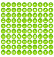 100 donation icons set green circle vector image vector image