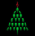 a christmas tree made of guitar headstocks vector image vector image