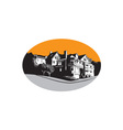 American Mansion House Oval WPA vector image vector image