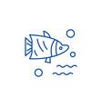 aquarium fish line icon concept aquarium fish vector image vector image