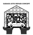 Auto Repair Services black concept with car icons vector image vector image
