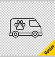 black line veterinary ambulance icon isolated on vector image vector image