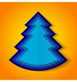 Blue paper christmas tree on orange background vector image vector image