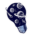 bulb and galaxy vector image vector image