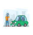 car accident on road displeased driver dweller vector image