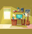 cartoon home office interior workplace vector image vector image