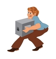 Cartoon man in brown pants with gray box vector image vector image