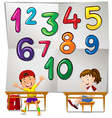 Children and numbers one to ten vector image vector image