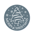christmas round card grey vector image vector image