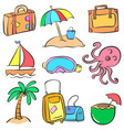 collection element summer doodle style vector image vector image