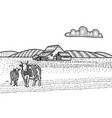 cow and calf grazing on meadow farm barn on the vector image